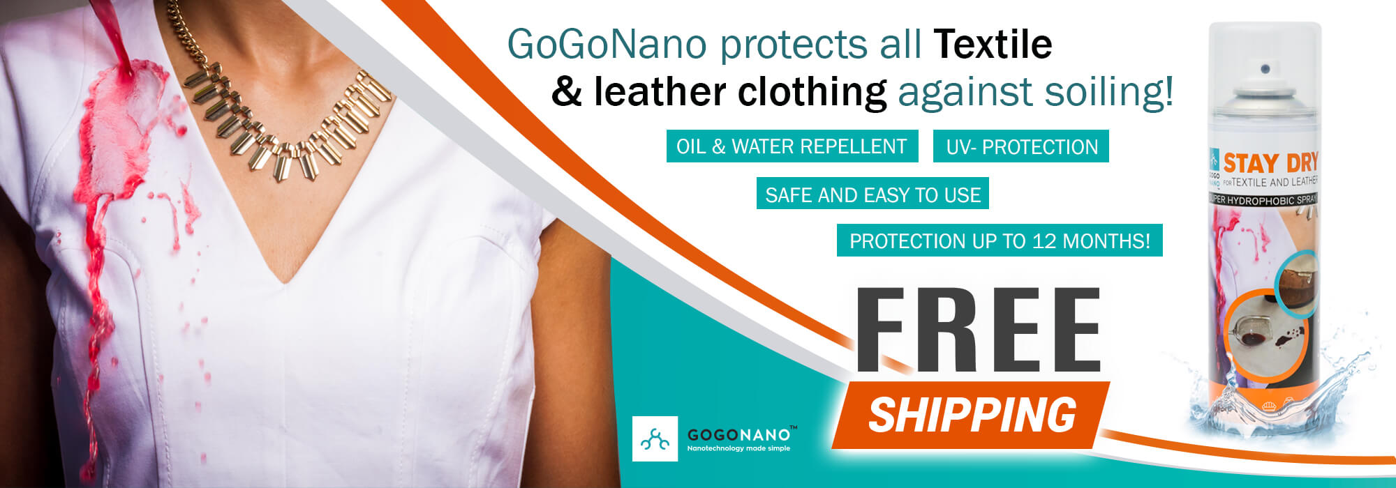 Waterproof Spray GoGoNano for textile and leather