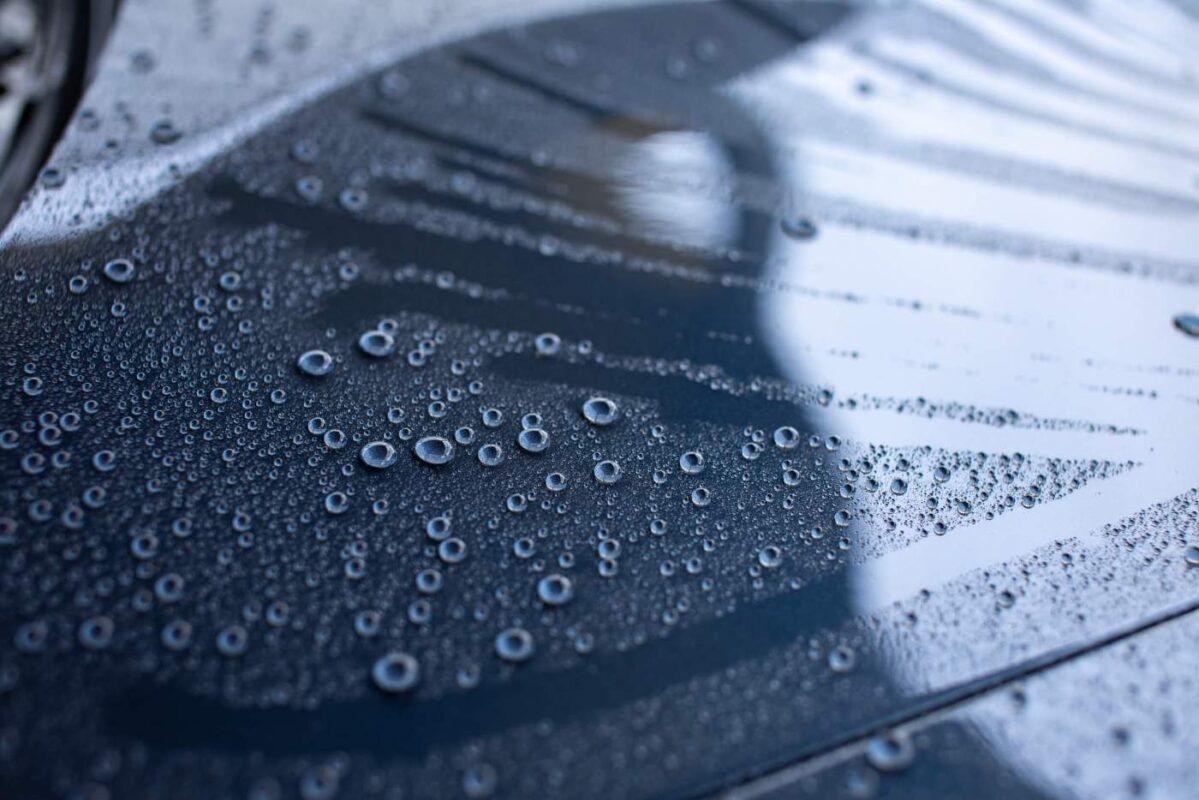 Water repellent car hood with nano ceramic spray