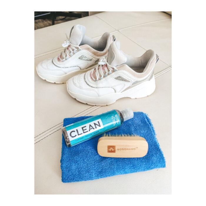 White shoes cleaned with ecofriendly gogonano cleaner hog hair brush