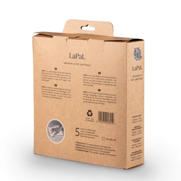 Lapal recycled microfiber cloth cardboard box of 5 40x40 cm